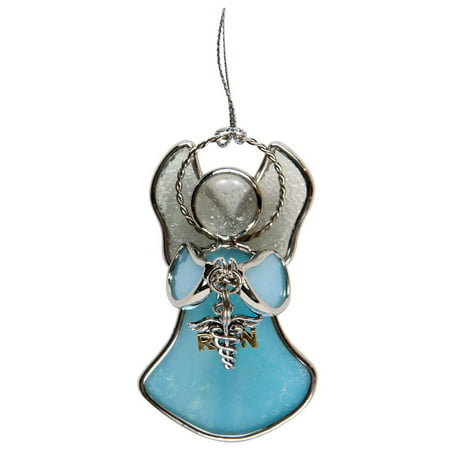 Stained Glass Nurse Angel RN Charmer Christmas - Nurse Ornaments