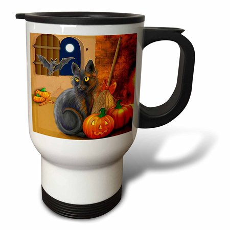 3dRose The Witchs Cat sits near a cozy fireplace entertaining her batty friend on Halloween night, Travel Mug, 14oz, Stainless Steel