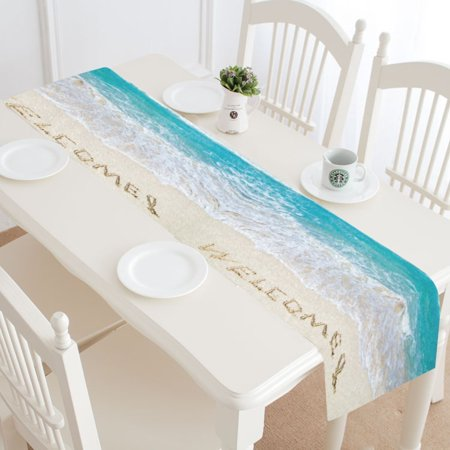 Nautical Table Decoration Ideas (MYPOP Tropical Ocean Beach Table Runner Home Decor 16x72 Inch, Nautical Ocean Wave Table Cloth Runner for Wedding Party Banquet)