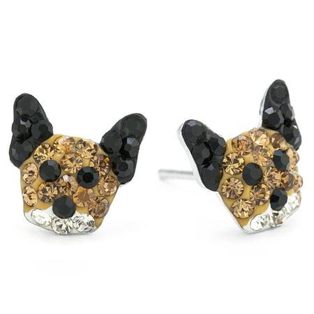 Marisol & Poppy Fine Sterling Silver Pave Crystal Dog Stud Earrings