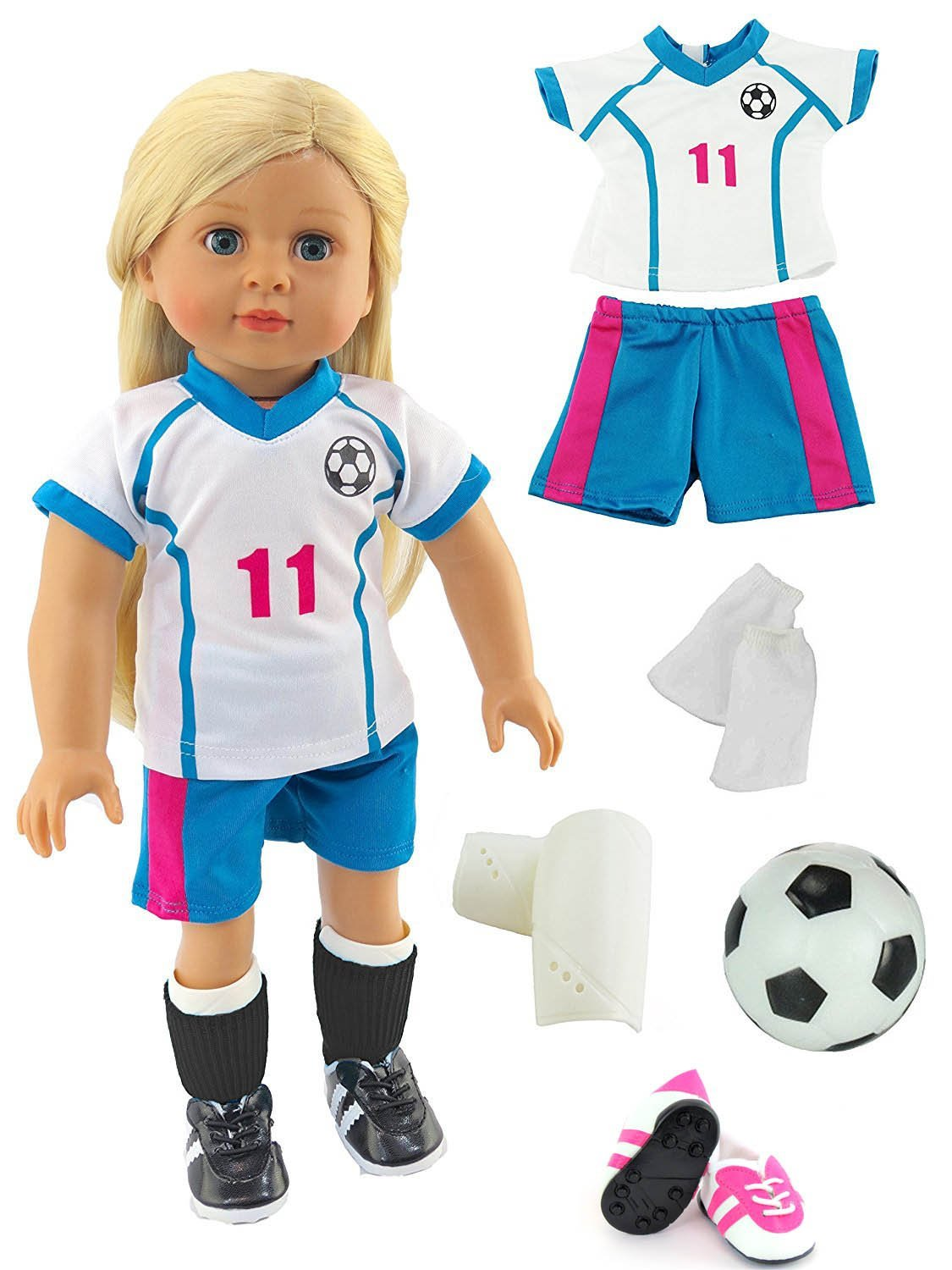Pink & Teal Soccer Player Outfit with Uniform, Shin Guards, Socks, Soccer Ball, and Shoes... by