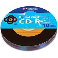 Verbatim Digital Vinyl CD-R 80 Min 700MB, 10pk, Multi-Color