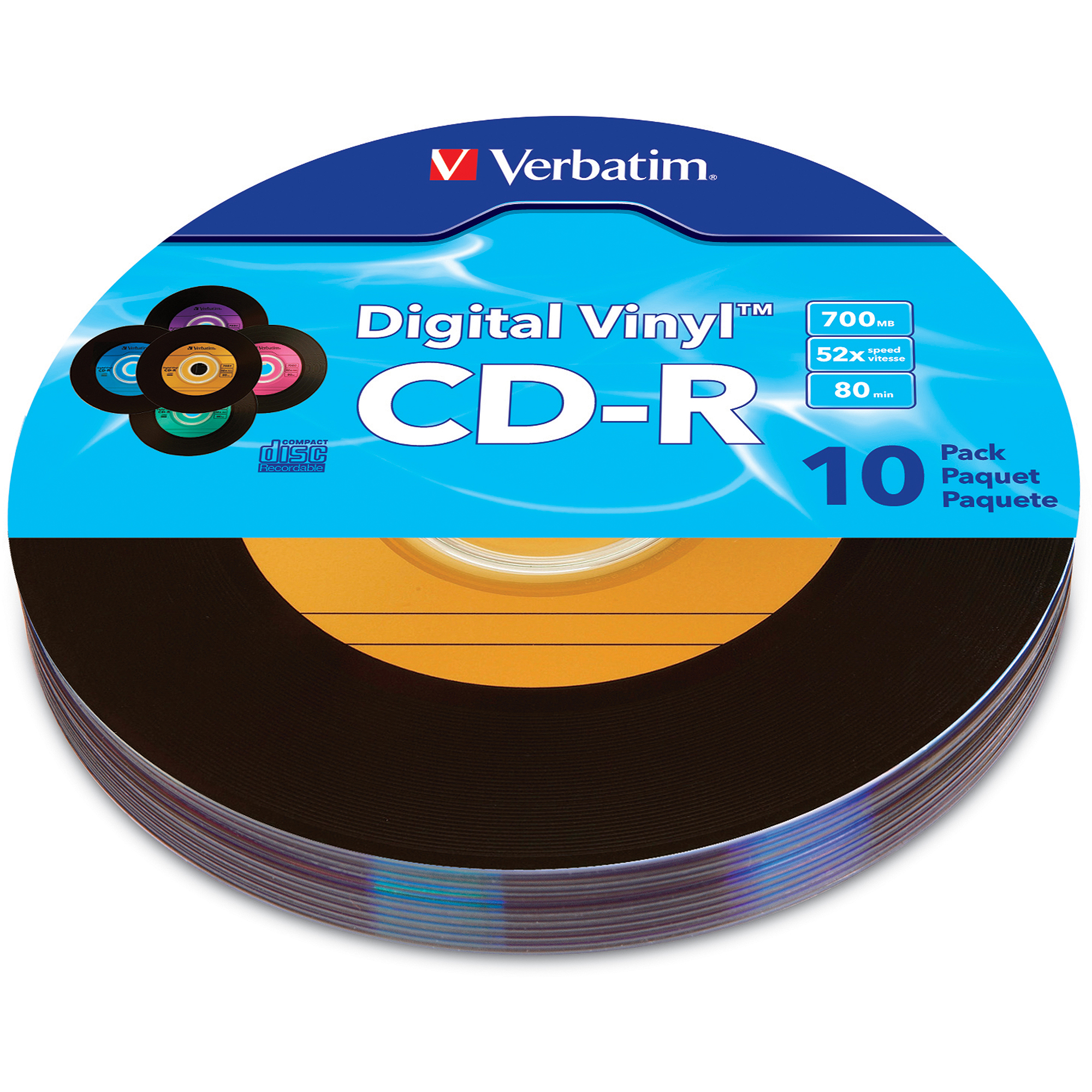 Verbatim Digital Vinyl 80-Min/700MB CD-R, 10pk