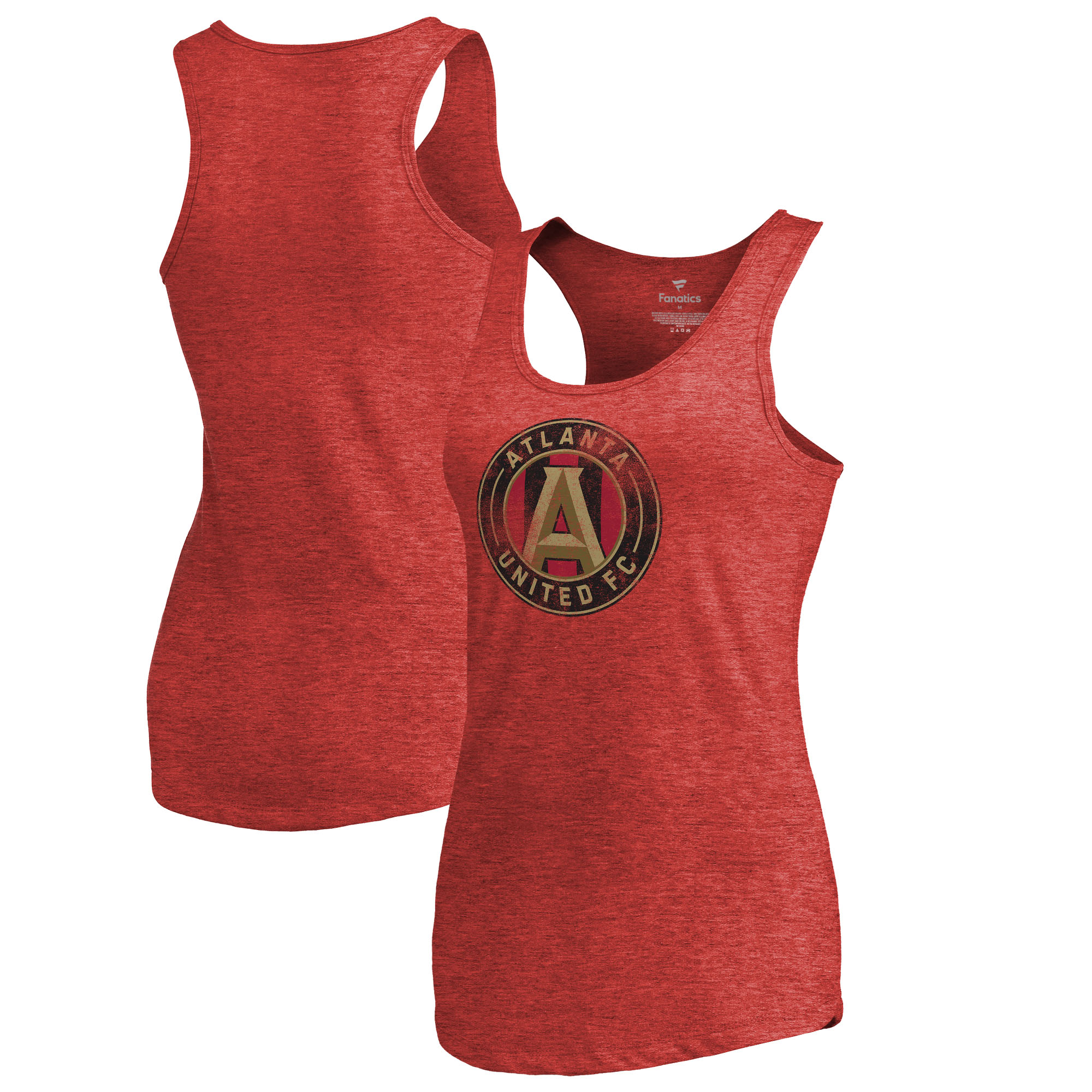 Atlanta United FC Fanatics Branded Women's Distressed Primary Logo Tri-Blend Tank Top - Red