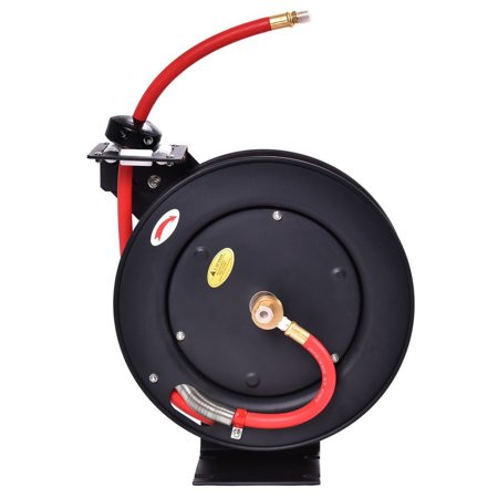 (GHP Steel Spring Powered Auto Rewind Locking Mechanism Hose Reel w 25Ft Rubber Air Hose)