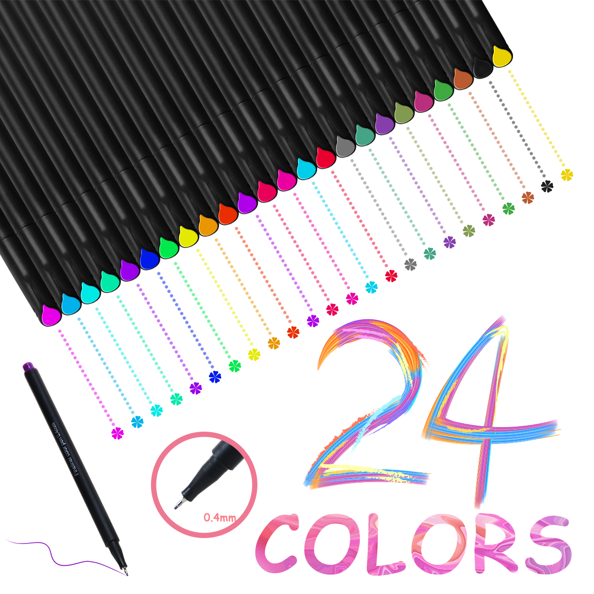 24 Color No Bleed Through Pens Markers Set 0.4 mm Fine Line Colored Sketch Pen