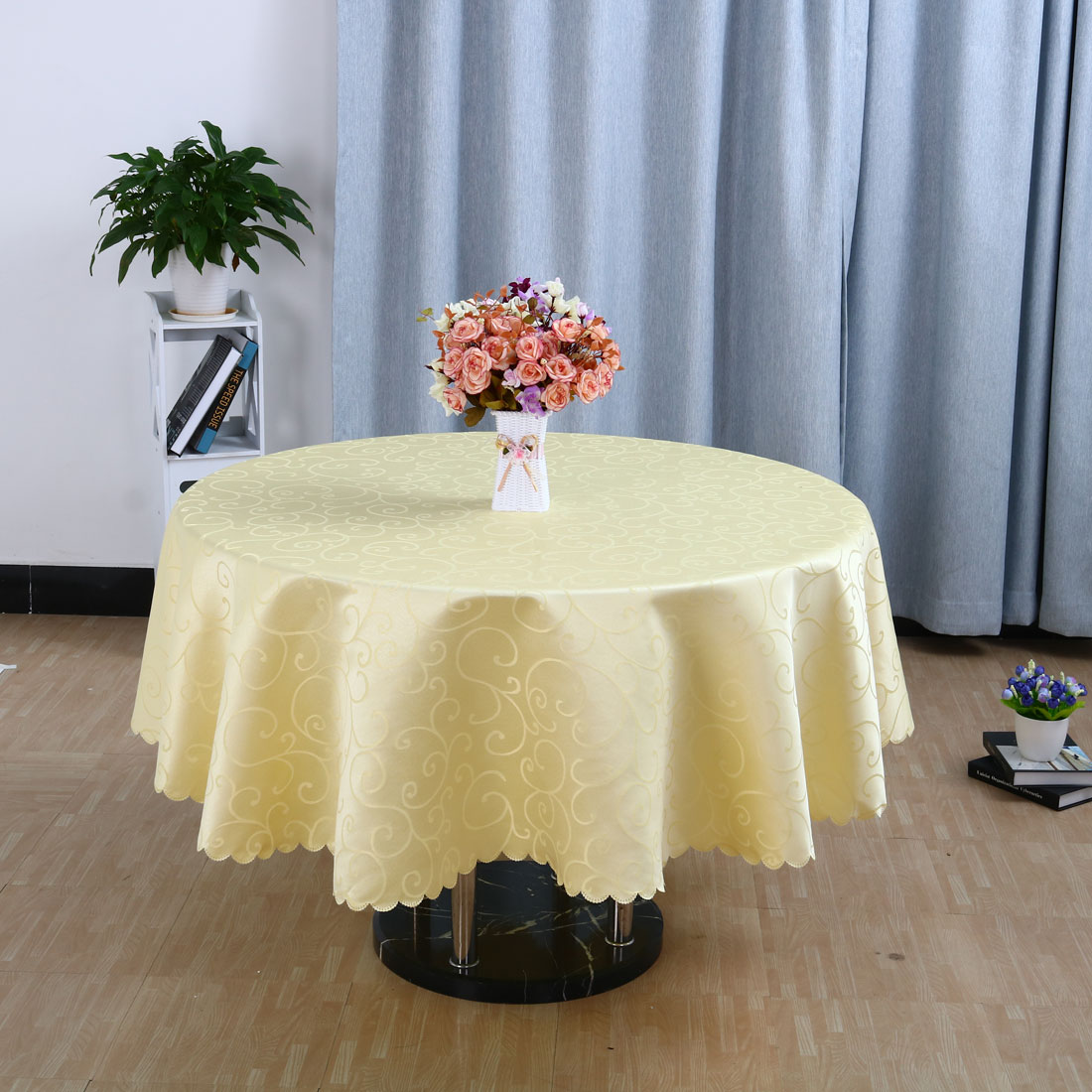 "Polyester Round Flower Pattern Tablecloth Water Stain Resistant Yellow 71"" Dia - image 2 of 4"