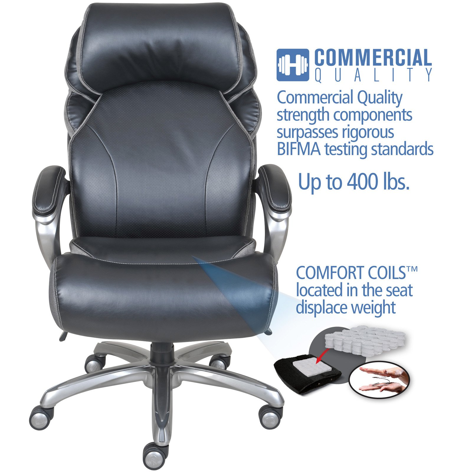 Serta Big And Tall Smart Layers Leather Executive Office Chair With AIR  Technology, ...