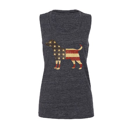 Patriotic American Flag Dog Silhouette Women Muscle Tank 4th of July Designer Line Silhouette Open Top
