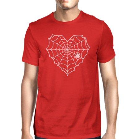 Web Red Shirt - Heart Spider Web T-Shirt Halloween Mens Red Round Neck Tee Shirt