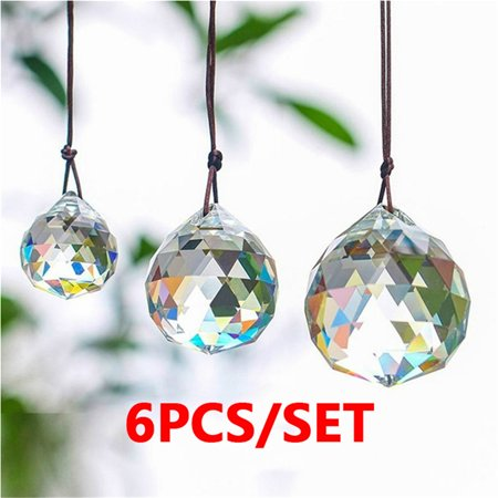 Wedding Ceiling Decorations (6pcs Set Faceted Crystal Ball  Prisms Pendants Wedding Window Decoration)