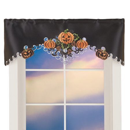 Halloween Pumpkins Window Valance Curtain for Livingroom, Diningroom, Kitchen, Embroidered Festive Party Indoor Decorations