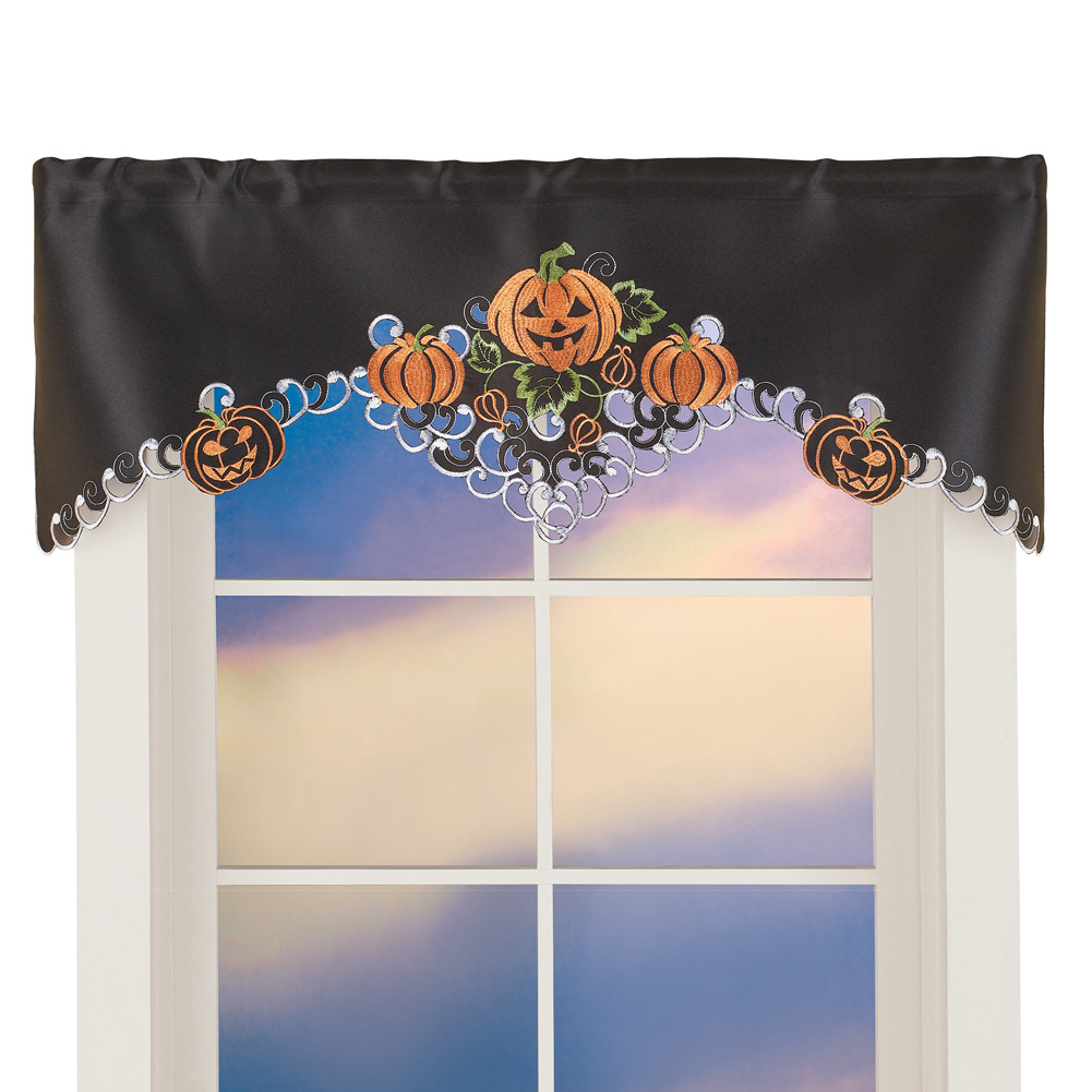 Halloween Pumpkins Window Valance Curtain For Livingroom, Diningroom,  Kitchen, Embroidered Festive Party Indoor