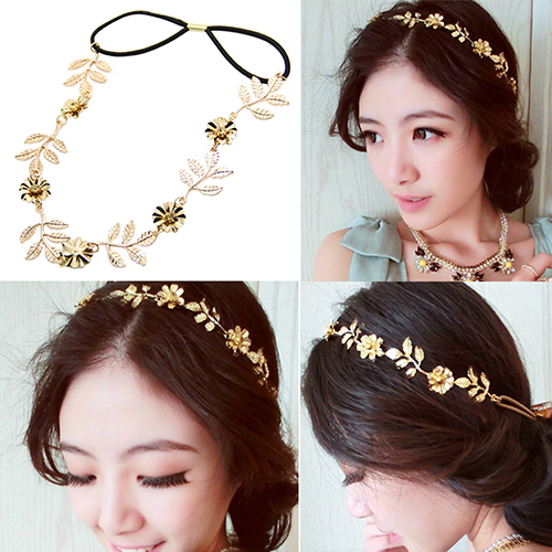 Girl12Queen Women Elegant Baroque Leaf Flower Elastic Headband Hair Band Party Beach Gift