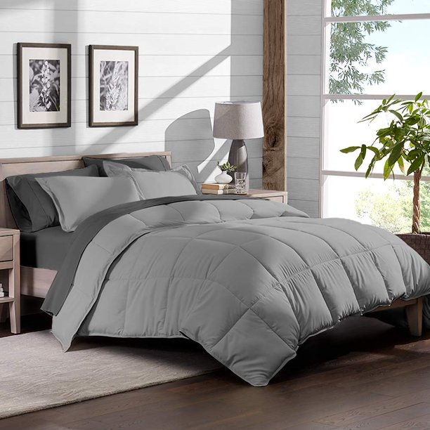 8 Piece Bed In A Bag   Split King (Comforter Set: Light Grey