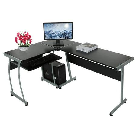 Ktaxon L-shaped Concise Corner Computer Desk Laptop PC Table Flat Shape Table Leg Wooden Desktop Black - image 5 de 5