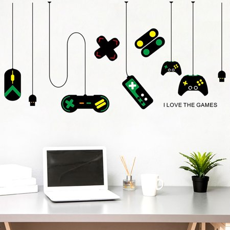 Wall Stickers for Bedroom, Gamepad Design Creative Personal Wall Decal Decorative Murals for Kids Boys Girls Bedroom Dorm Room Living Room Decor