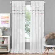 Pom Pom Rod Pocket Window Curtain Panel - Bright