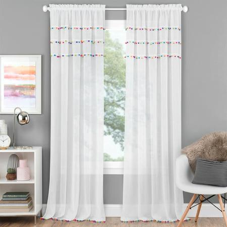 Pom Pom Rod Pocket Window Curtain Panel - Bright ()