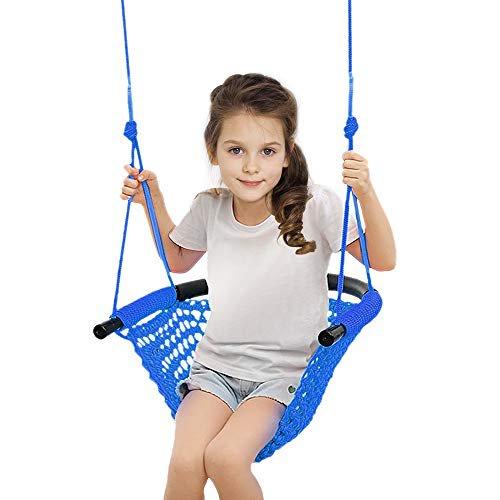 Beletops Kids Swing Swing Seat For Kids With Adjustable Ropes Heavy Duty Rope Play Secure Children Swing Set Hand Kitting Rope Swing Seat Playground Platform Swing Complete Set Blue Walmart Com Walmart Com
