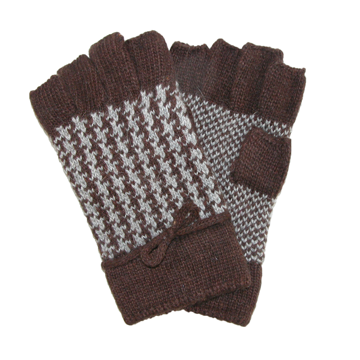 Jeanne Simmons  Womens Wool Houndstooth Fingerless Gloves