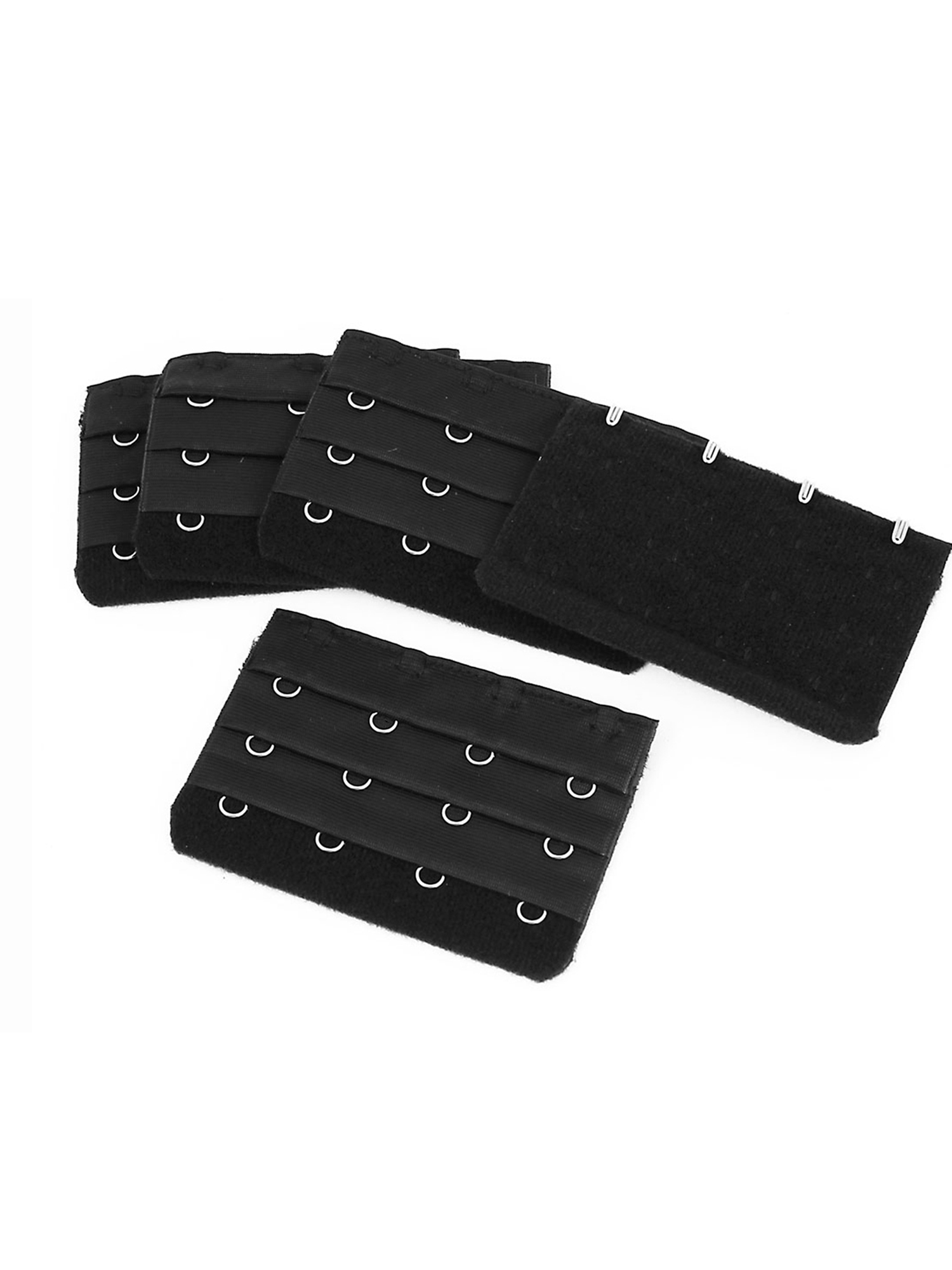 5 Pcs Black 3x4 Positions Hooks Eye Tape Bra Strap Extension Underwear Buckle