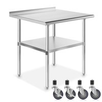 "GRIDMANN NSF Stainless Steel Commercial Kitchen Prep & Work Table w/ Backsplash Plus 4 Casters- Multiple Sizes Available - 30"" 36"" 48"" 60"" 72"""