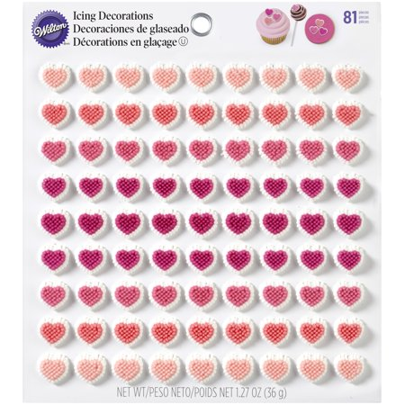 Wilton Valentine's Day Mini Heart Royal Icing Decorations, 81 count - Icing For Decoration