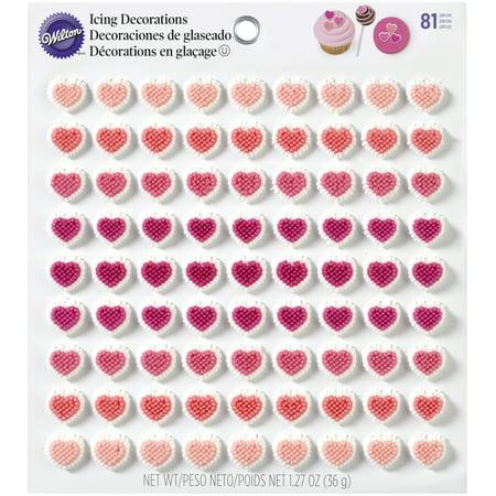 Wilton Valentine's Day Mini Heart Royal Icing Decorations, 81 count (Valentines Day Decorations)
