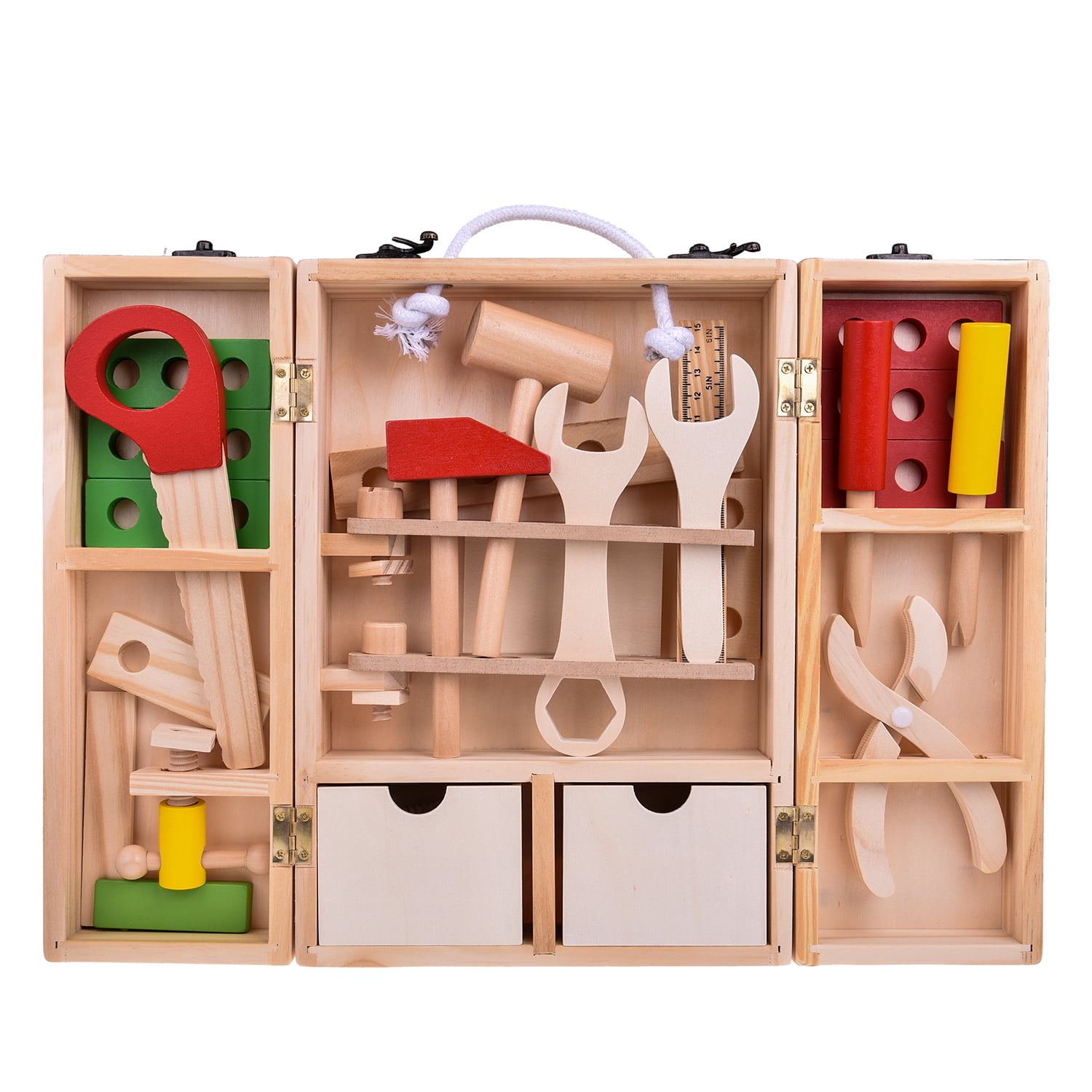Wooden Tool Set Construction Toys in Durable Case for Kids ...