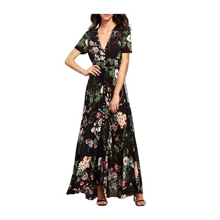 e73f73da26c Phoebecat - Women s Short Sleeve Black V Neck Maxi Dress