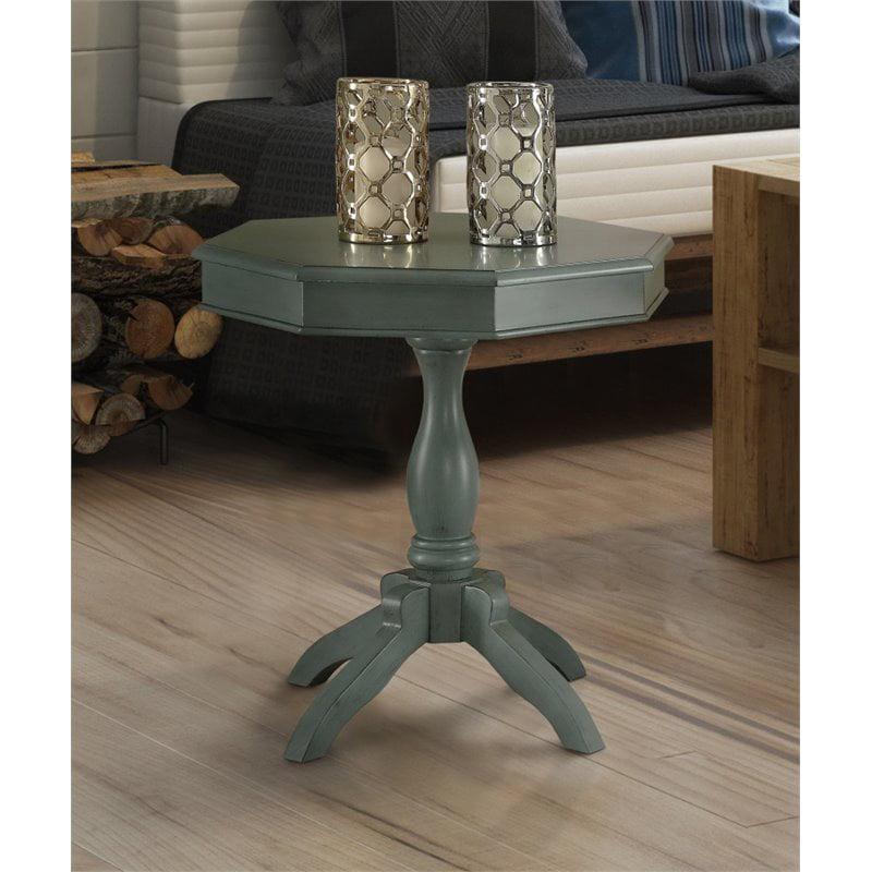 Furniture of America Ehtel Octagon Pedestal Table in Teal