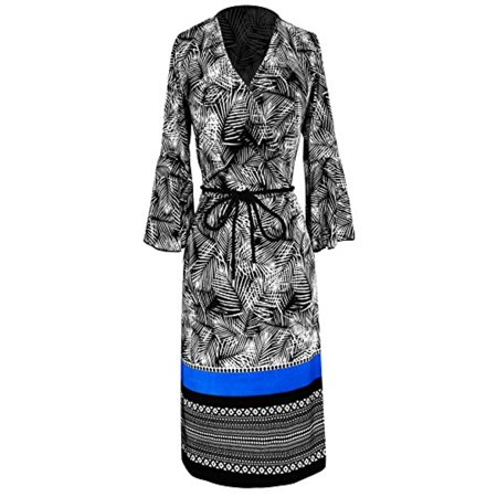 Peach Couture Boho Tribal Surplice Mid-Length Shift Dress With 3/4 Bell Sleeves