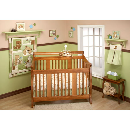 Little Bedding by NoJo Dreamland Teddy 10pc Nursery in a Bag Bedding Set ()