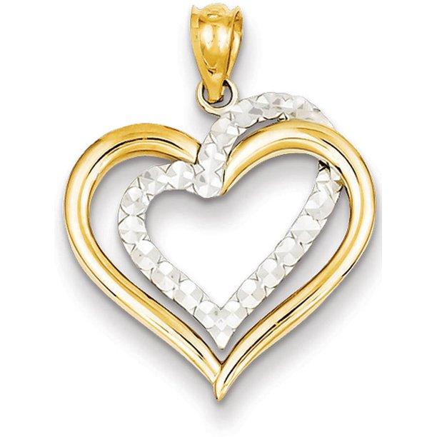 14kt Gold Two-Tone Diamond-Cut Heart Pendant