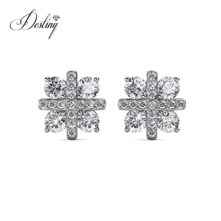 Destiny Jewellery Crystals from Swarovski Jewelry Set with 18k White Gold Plated, Pendant Earrings Set Charm Snowflake Shape Design for Women - image 7 of 9