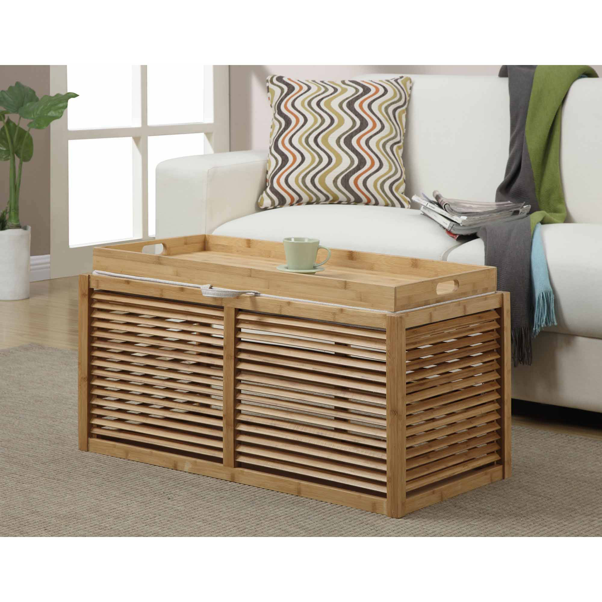 Convenience Concepts Designs4Comfort Double Bamboo Ottoman, Multiple Patterns