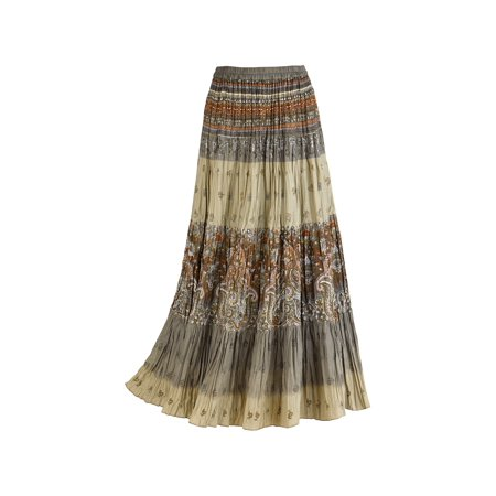 Catalog Classics Women's Sage Paisley Broomstick Skirt, Tiered Peasant Maxi](Peasant Skirt)