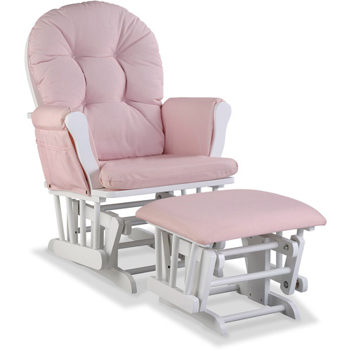 Storkcraft Hoop Custom Glider and Ottoman, Pink Blush Swirl Cushions, (Choose your Finish)