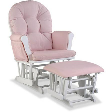 Glider Rocking Chair Ottoman - Storkcraft Swirl Hoop Glider and Ottoman, Pink Blush Cushions, Choose your Finish