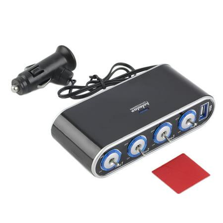 (Universal 2 Way Car Cigarette Lighter Socket Splitter Charger Power Adapter DC 12V/24V With USB LED Light Switch)