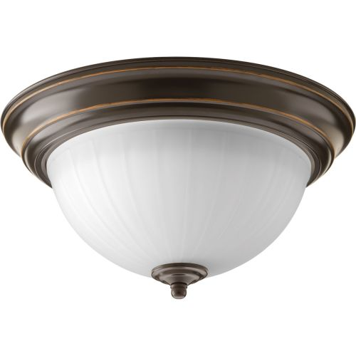 "Progress Lighting P2304-LED LED Flush Mount Ceiling Fixture with Etched White Glass - 14"" Wide"