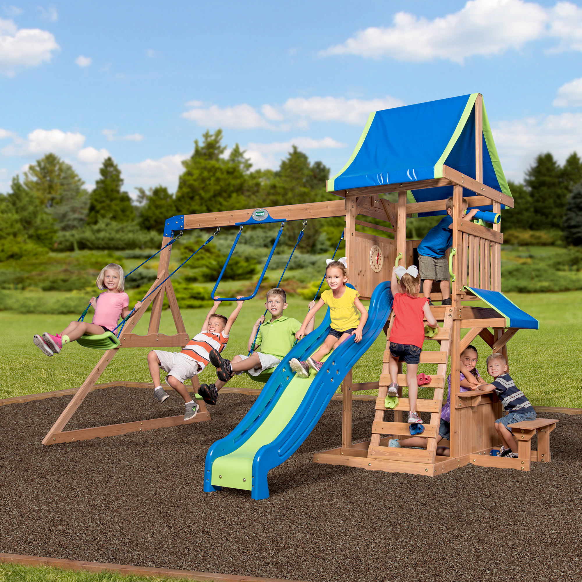 Backyard Play backyard discovery cedar point wooden swing set - walmart