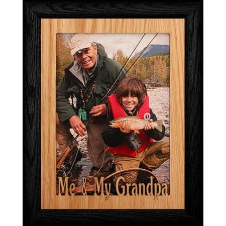 5X7 Jumbo ~ Me & My Grandpa Portrait Picture Frame ~ Laser Cut Oak Veneer Mat With Black Frame
