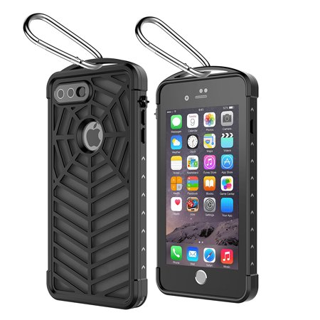 - For iPhone 6/7/8 Plus Case Waterproof,Sport Case Spider Series IP68 With Touch ID Shockproof Drop proof Snowproof Dirtproof Spiderweb Design Case Full Body Rugged Case Transparent Black