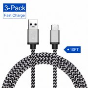 USB Type C Cable Fast Charging, TSV 3Pcs 10 FT USB-C Type-C Data Sync Charger Charging Cable Braided Cord Fit for Samsung S8/Plus
