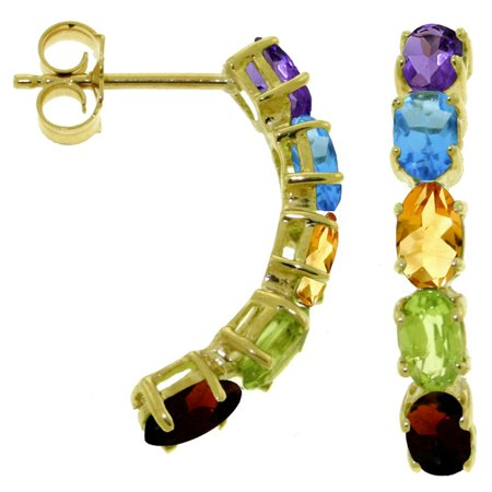 ALARRI 2.5 CTW 14K Solid Gold Earrings Natural Multicolor Gemstones.