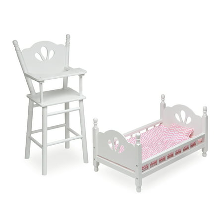Badger Basket English Country Doll High Chair and Bed Set with Chevron Bedding - White/Pink - Fits American Girl, My Life As & Most 18