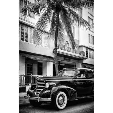 Classic Antique Car of Art Deco District - Park Central Hotel on Ocean Drive - Miami Beach Black and White Photography Print Wall Art By Philippe Hugonnard (Central Antique)