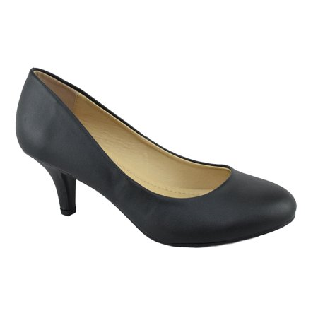 City Classified Comfort Women Classic High Heel Pumps Closed Round Toe CARLOS Black PU (High Heel Round Toe Pumps)